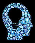 Idea Head  Blue Icon Pattern Background