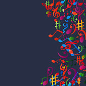 Music background with colorful music notes