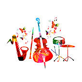 Music colorful background with saxophone, clarinet, violoncello and drum