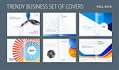 Design set of abstract double-page brochure with blue orange colourful circles, quares, triangles for branding. Business vector broadside