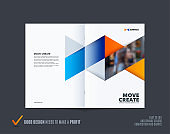 Abstract double-page brochure design hexagon style with blue orange colourful triangles for branding. Business vector presentation broadside