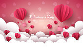 Valentine s Day illustration. Air balloon, heart, cloud