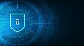 Technology Shield Security,protection and Safe Concept,on Data background Hi-tech and technology concept design.