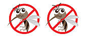 Vector Warning and Anti Mosquito Sign,Cartoon Character design,Cute and Funny style.