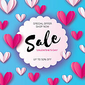 Origami Pink, white hearts. Valentine's day sale offer, banner template in paper cut style on blue background. Circle wave frame. Text. Shop market poster. Romantic Holidays. Love. 14 February.