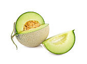 cut ripe sweet honeydew green melon on white background
