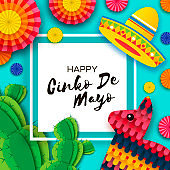 Happy Cinco de Mayo Greeting card. Colorful Paper Fan, Funny Pinata and Cactus in paper cut style. Origami Sombrero hat. Mexico, Carnival. Square frame on blue. Space for text.