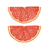 Realistic 3d Vector Illustration of half  sliced grapefruit. Colourful citrus. Good for packaging design and ad.