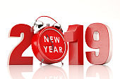 New Year Clock 2019 Concept with Alarm Clock