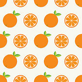 Orange fruit set with leaf in a row. Cut half Healthy lifestyle food. Seamless Pattern White background. Flat design.