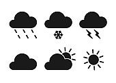 Set of black isolated icons of weather on white background. Silhouette of meteorological symbols . Flat design. Sun, snow, rain, thunderstorm, cloud.