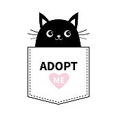 Cat black face in the pocket. Adopt me. Pink heart. Cute cartoon animals. Kitten kitty character. Dash line. Pet animal collection. T-shirt design. Baby background. Isolated. Flat design