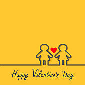 Happy Valentines Day. Love card. Gay marriage Pride symbol Two black contour women line sign with red heart LGBT icon Yellow background Flat design.