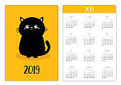 Pocket calendar 2019 year. Week starts Sunday. Black cat sitting icon. Cute funny cartoon character. Kawaii animal. Kitty kitten Baby pet collection. Yellow background. Flat design.