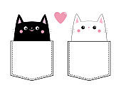 Black white cat love couple in the pocket. Pink heart. Cute cartoon pet animals. Kitten kitty character. Dash line. Happy Valentines Day. T-shirt design. Baby background. Isolated. Flat design