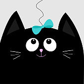 Black cat head looking at blue bow hanging on thread. Cute cartoon character. Pet baby collection Card. Flat design.