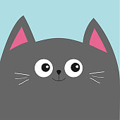 Gray cat head with big eyes and moustache. Cute cartoon character. Pet baby collection Card. Flat design.