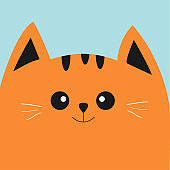 Orange red cat head with big eyes and moustache. Cute cartoon character. Pet baby collection Card. Flat design.