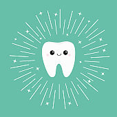 Healthy white tooth icon with smiling face. Shining effect stars. Cute cartoon character. Round line circle. Oral dental hygiene. Children teeth care. Bright green background. Flat design.