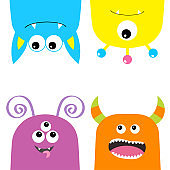 Colorful monster silhouette set. Hanging head face set. Cute cartoon scary character. Baby collection. Eyes, tongue, horns. Happy Halloween. White background. Isolated. Flat design.