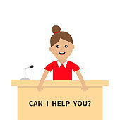 Can I help you. Women female girl people consultant. Table Information desk counter microphone. Reception service. Info support. Cute cartoon character. Flat design White background