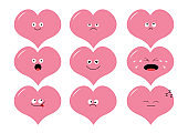 Cute heart shape emoji set. Funny kawaii cartoon characters. Emotion collection. Happy, surprised, smiling, crying, sad angry pink face head. White background Isolated Flat design.