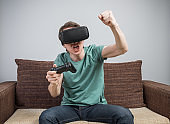 Gamer playing video games