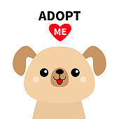Adopt me. Cute dog face silhouette. Red heart. Pet adoption. Kawaii animal. Cute cartoon puppy character. Funny baby pooch. Help homeless animal Flat design. White background