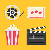 Movie reel Open clapper board Popcorn Ticket Cinema icon set. Flat design style. Yellow background.