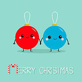 Merry Christmas ball toy icon set. Love couple holding hands. Candy Cane. Funny smiling face head. Cute cartoon character. Red and blue. Winter background. Isolated. Flat design.