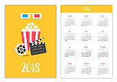 Pocket calendar 2018 year. Week starts Sunday. 3D paper red blue glasses. Open clapper board Movie reel Popcorn Cinema Movie icon set. Flat design style. Yellow background.