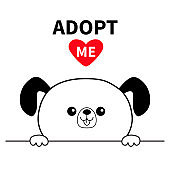 Adopt me. Dont buy. Dog face head. Hands paw holding line. Pet adoption. Help homeless animal Cute cartoon puppy character. Funny baby pooch. Flat design. White background