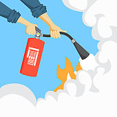 Hands with fire extinguisher