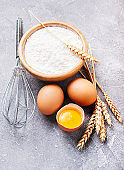 Baking ingredients - flour and eggs