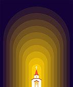 Church in Dark  Catholic Christian house religion. Vector illustration