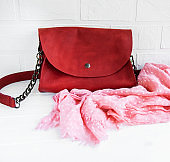 Red leather bag and scarf