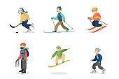 Winter activities set.