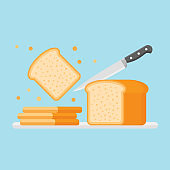 Slicing toast bread with knife. Flat style vector illustration.