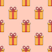 Seamless pattern with Christmas gift box. Vector texture.