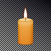 Candle flame fire isolated on checkered background, Memorial fire, light sign. Realistic yellow cand