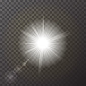 Transparent White glowing light burst explosion isolated on checker background. Realistic effect decoration with ray sparkles. Bright star. Shine gradient glitter, bright flare. Glare texture