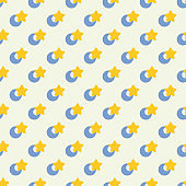 Seamless cute pattern with star and moon