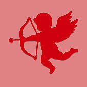Silhouette of Cupid. Eps10. Vector illustration.