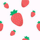 Seamless cute pattern with strawberry on orange background