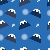 Seamless cute pattern with fuji mountain and snow