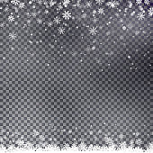 Snowflake border vector. Christmas falling snow.