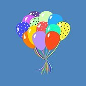 Colorful balloons vector illustration on blue background
