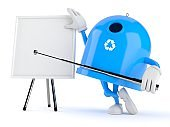 Recycling bin character with blank whiteboard