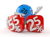 Lotto ball character behind percentage signs