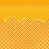 Dripping honey on a waffle background. Honey splash, sweet syrip. Vector illustration